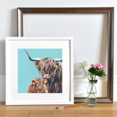 Lifestyle photo of a Framed Snowdrift print by Lauren's Cows