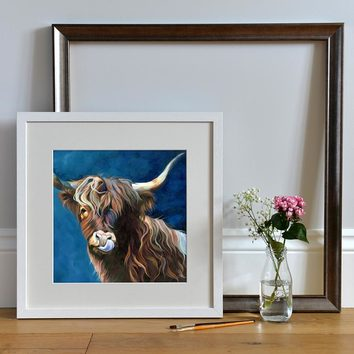 Framed Giclee print of a Highland Cow