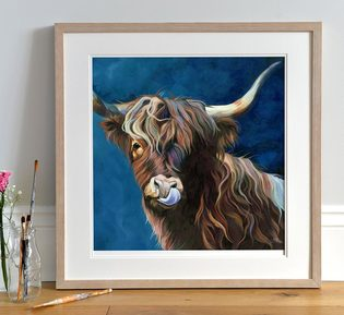 Contemporary Highland Cow Art