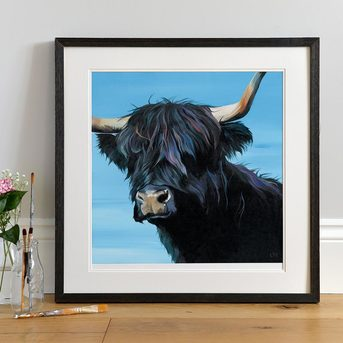 Black Highland Cow art print by Lauren Terry