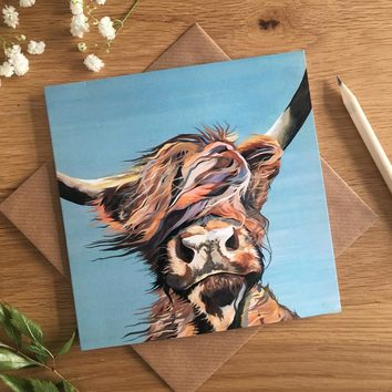 Windy Day Highland Cow Greetings Card