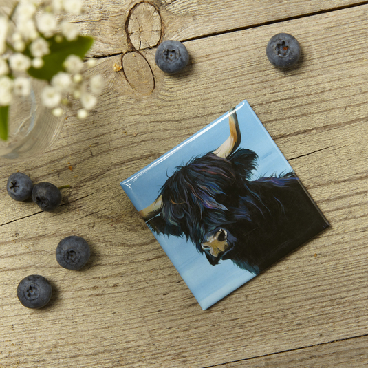 Tina, Black Highland Cow magnet for the home