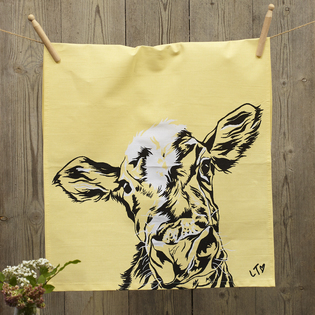 Ruby Dairy Cow Dish Towel by Lauren's Cows
