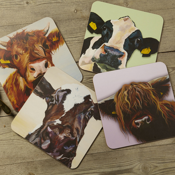 Highland Cow & Dairy Cow Coasters and Tablemats, by Lauren's Cows