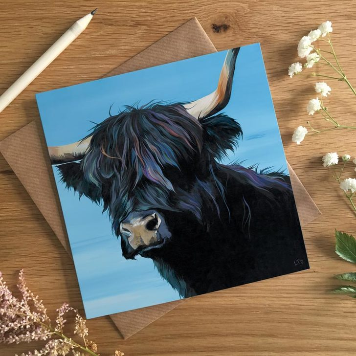 Tina, Black Highland Cow Art Card