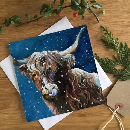 Snowflake Highland Cow Christmas Card by Lauren Terry