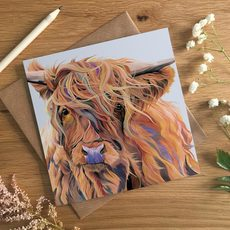 Windswept Highland Cow Card by Lauren Terry