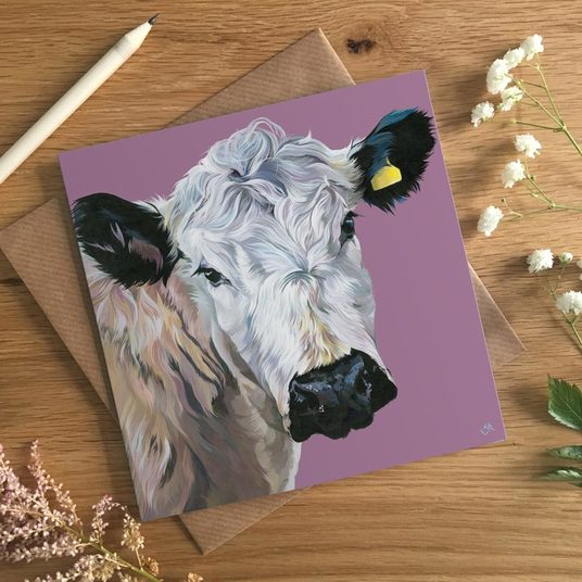 Black and White Cow Card
