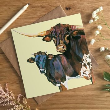 Texas Longhorn Bull Art Card by Lauren's Cows