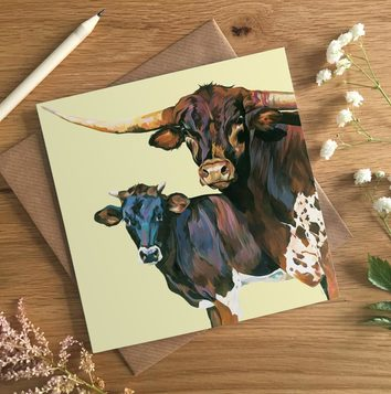 Texas Longhorn Bull Birthday Card