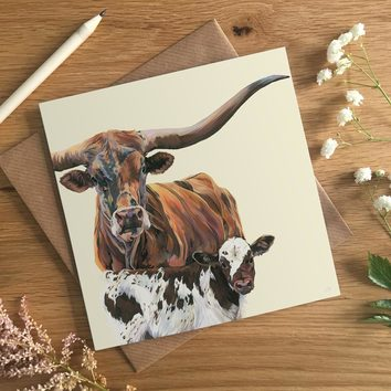 Texas Longhorn Cow & Calf , by Lauren's Cows