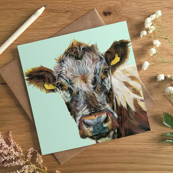 Irish Moiled Cow Art Card by UK artist