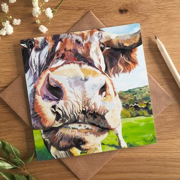 Holly British Lonhorn Cow Card by Lauren Terry
