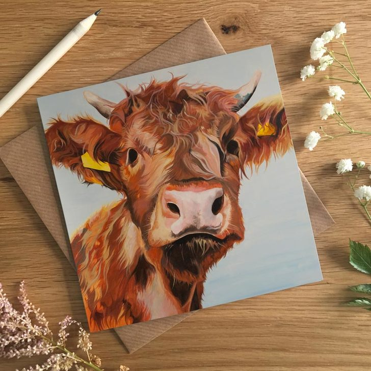 Alfie, Fluffy Highland Calf card by Lauren