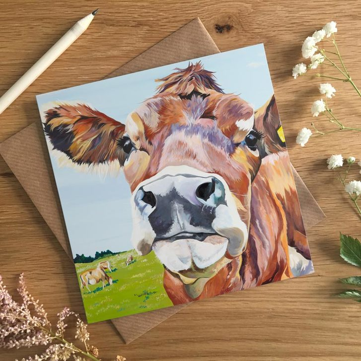 Beautiful eyed Jersey Cow card