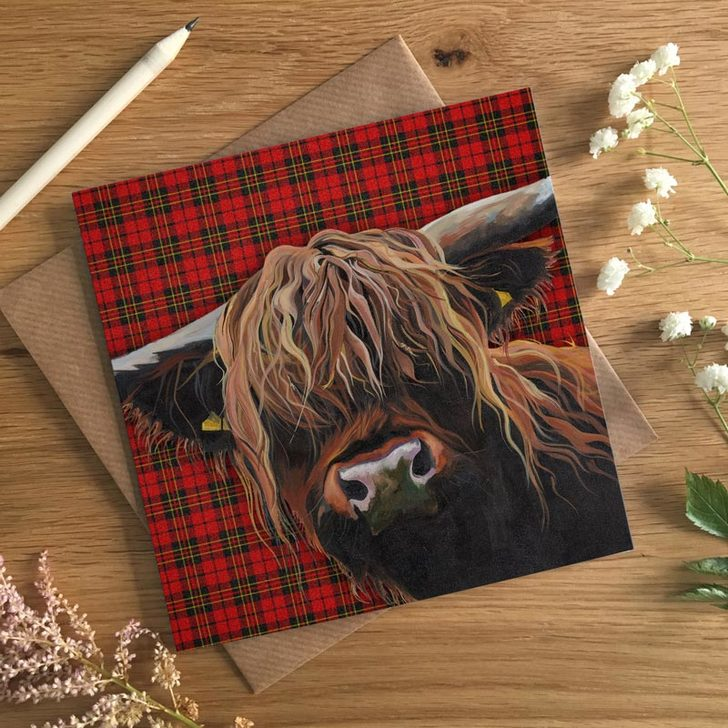 Scottish Tartan Heeland Coo Card