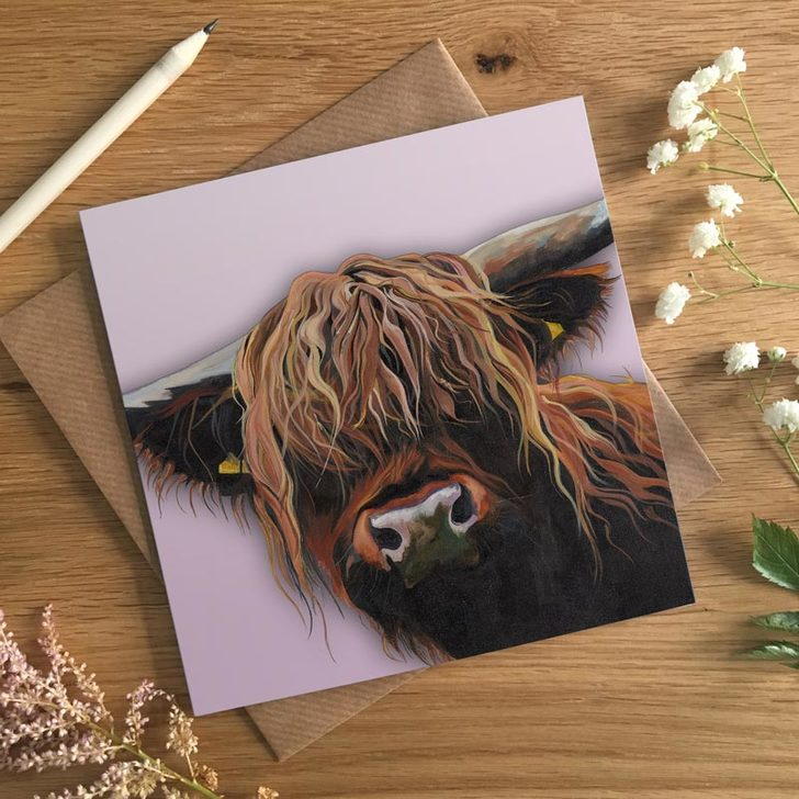 Colourful Highland Coo Card by Lauren's Cows
