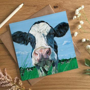 Curious Holstein Cow Card