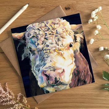 Hereford Bull Art Card by Lauren's Cows