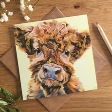 'Ted' cute Highland Calf Card