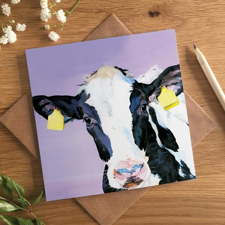 Fun Friesian Cow card by Lauren's Cows