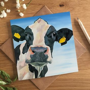 Black and White Cow Card by Lauren Terry