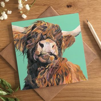 Funny Highland Cow Card by Lauren's Cows