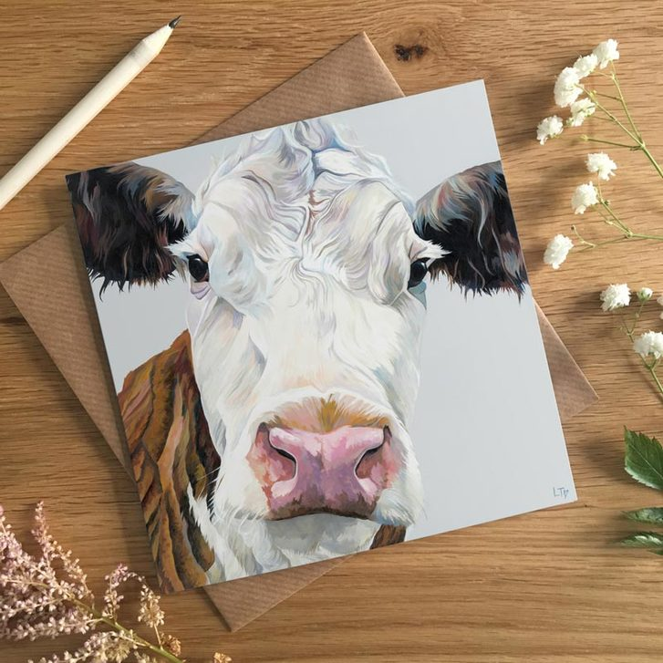 Hereford Cow greetings card by Lauren's Cows