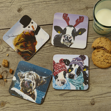 Christmas Coasters by Lauren's Cows