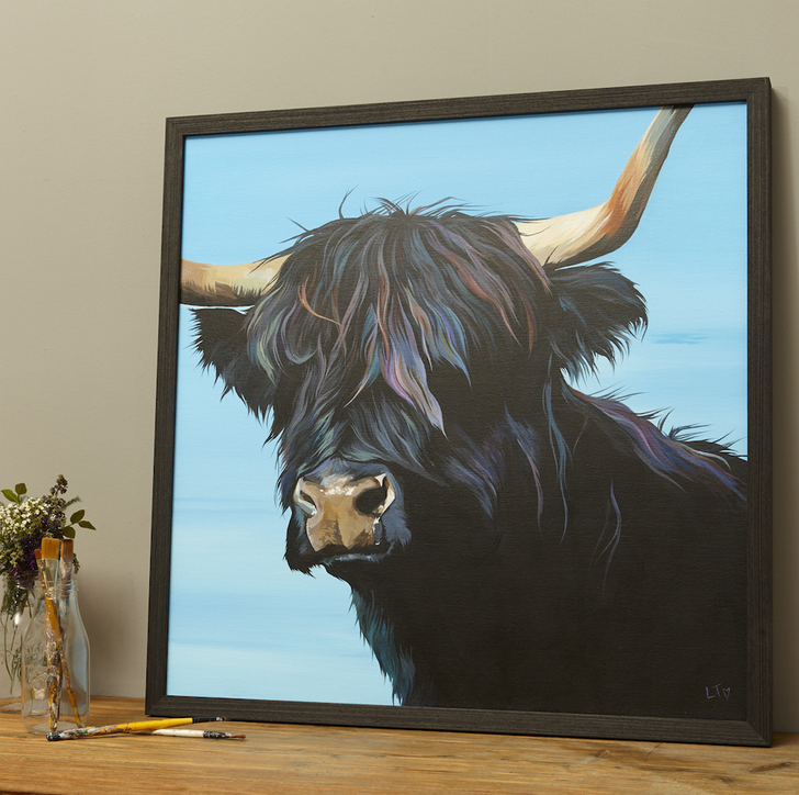 Framed Original Painting of a Black Highland Cow by Lauren's Cows