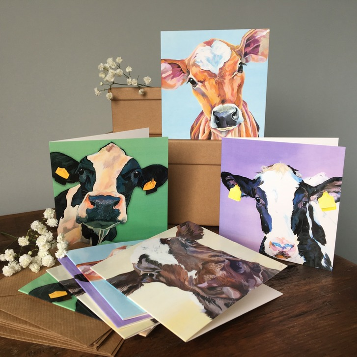 Cow's in Hats and Scarves Christmas Cards