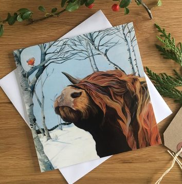 Highland Cow with a Robin Red Breast Christmas Card