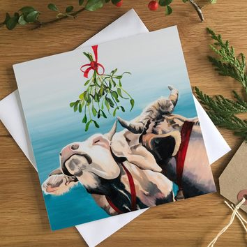 Cows under the Mistletoe Christmas Card