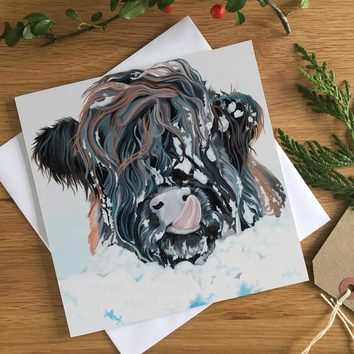 Highland Cow Christmas Card by Lauren's Cows