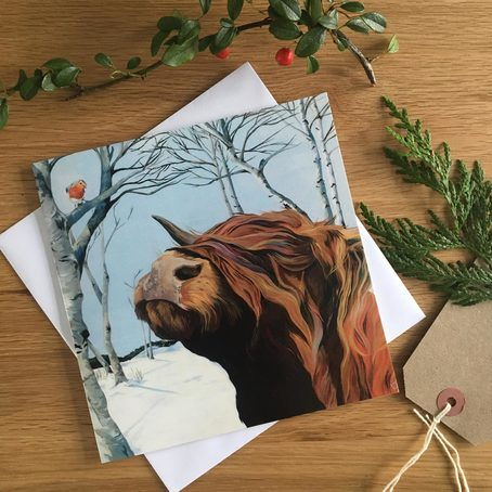 Highland Cow and Robin Christmas Card