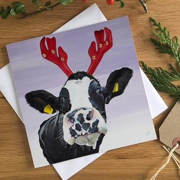 Dairy Cow in Reindeer Antlers Christmas Cards