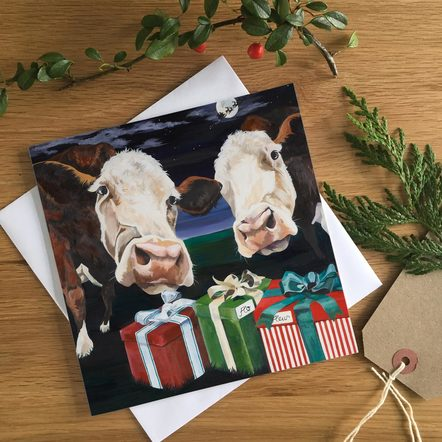 Hereford Cow Christmas Card