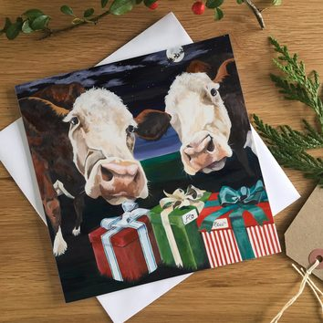 Special Delivery Hereford Cow Christmas Card