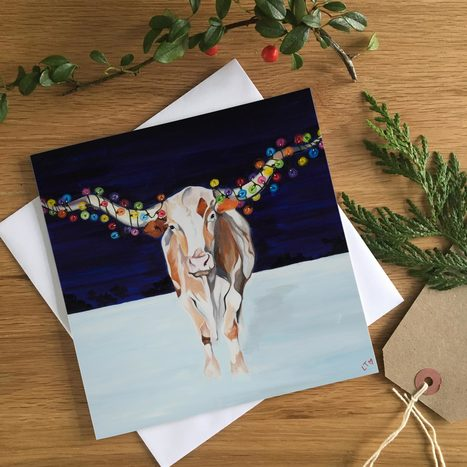 A Texas Longhorn dressed for Christmas