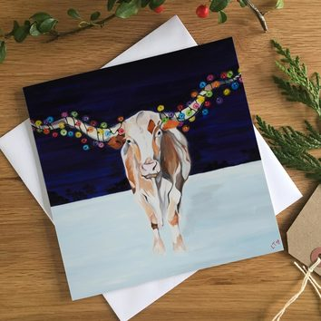 Texas Longhorn dressed in lights Christmas Card