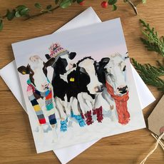 Four Dairy Cows in Hats and Scarfs by Lauren's Cows