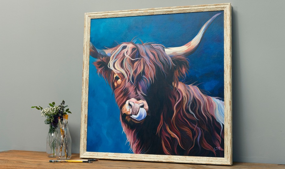 'Lizzie' Original Painting of a Highland Cow by Lauren's Cows