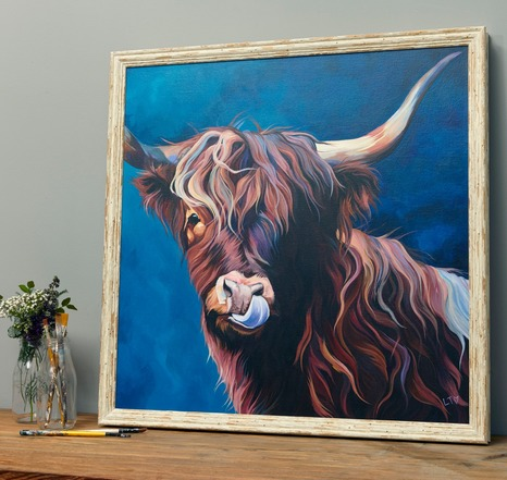 Highland Cow Art Canvas by Lauren Terry