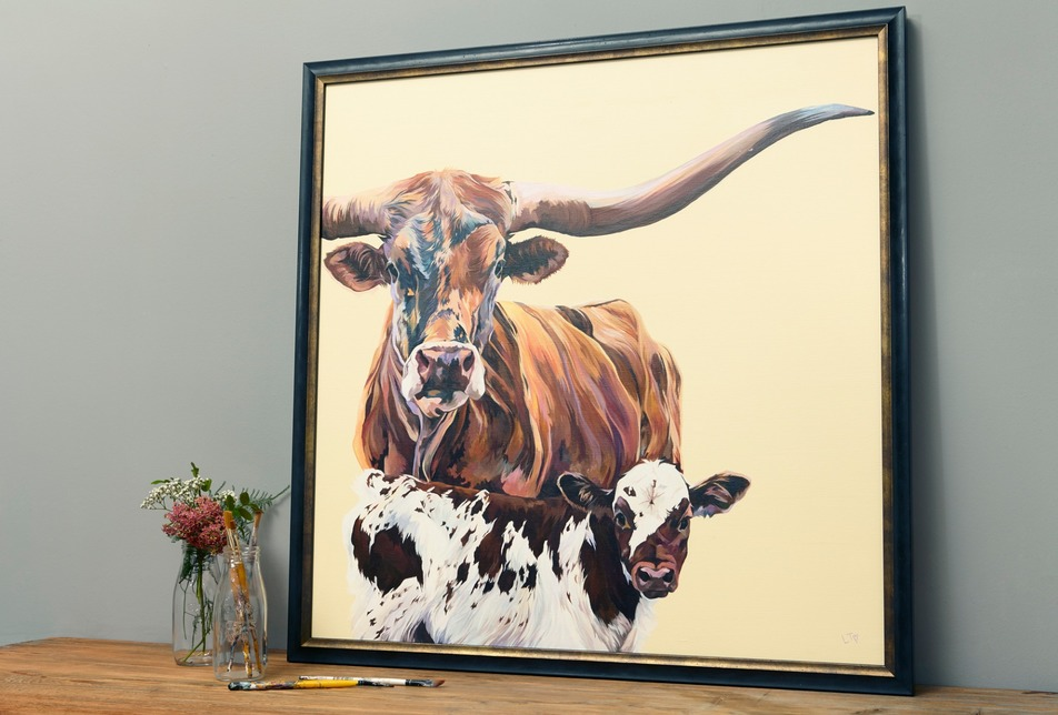 Cow Art Canvas by Lauren Terry