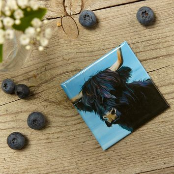 Black Highland Cow magnet by Lauren Terry
