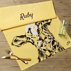 Yellow Dairy Cow Tea Towel by Lauren's Cows