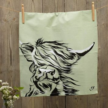 Rhett Highland Cow Dish Towel by Lauren's Cows