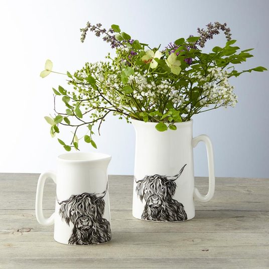 Small White Milk Jug with Highland Cow