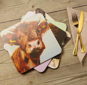 Set of 4 melamine Cow Placemats