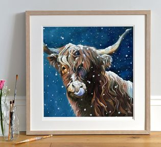 Snowy Highland Cow Print by Lauren Terry